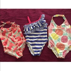 Used swimsuit set (3) toddler girl, size 4T/size 5
